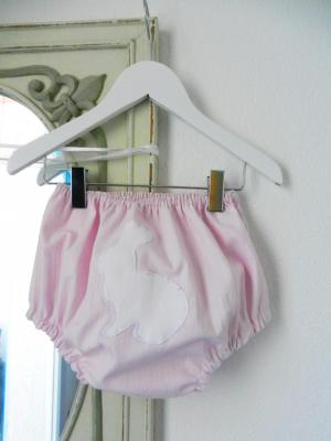 Candy pink cotton bloomers with white rabbit appliqué at the back