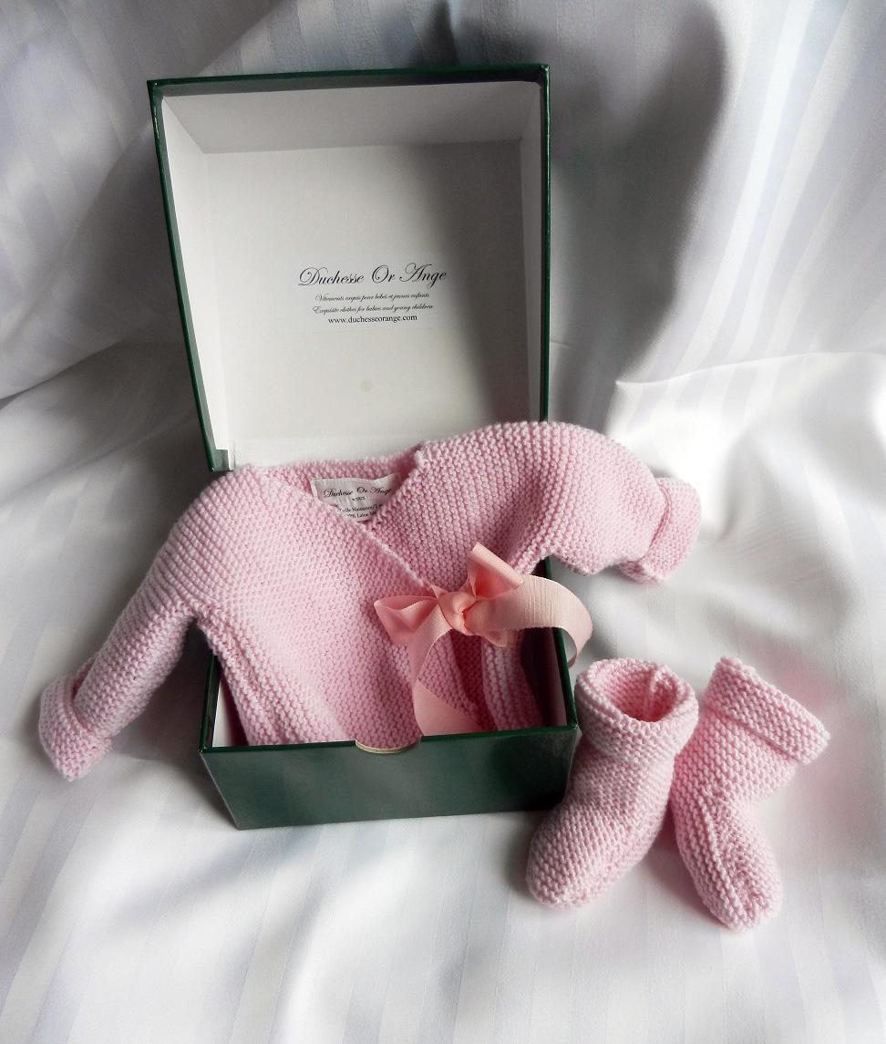 Duchesse or ange doa 289 ensemble naissance rose dragee