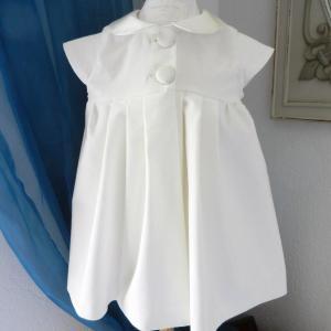 Duchesse or ange doa 293 robe bebe bapteme camelia velours blanc casse col et boutons en soie champagne off white velvet baby christening dress silk collar a