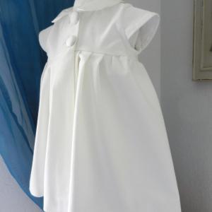 Duchesse or ange doa 293 robe bebe bapteme camelia velours blanc casse col et boutons en soie champagne off white velvet baby christening dress silk collar b
