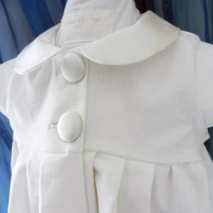 Duchesse or ange doa 293 robe bebe bapteme camelia velours blanc casse col et boutons en soie champagne off white velvet baby christening dress silk collar c