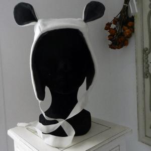 Duchesse or ange doa 295 capuche bonnet blanc oreilles velours gris white hat ears b