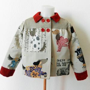 Duchesse or ange doa 296 veste antoinette motif chiens dogs jacket a