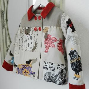 Duchesse or ange doa 296 veste antoinette motif chiens dogs jacket b