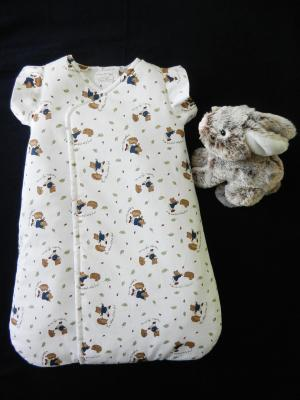 Baby sleeping bag in bears and hedgehogs pattern cotton fabric