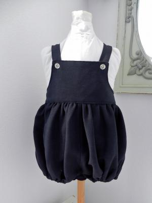 Navy rompers, silver buttons