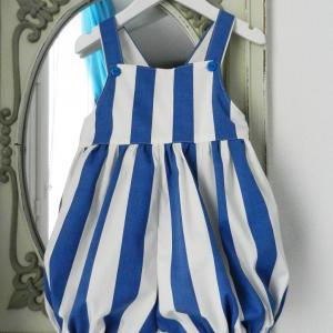 Duchesse or ange doa 301 barboteuse rayures bleues blue stripes baby rompers a