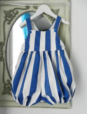 Blue and white big stripes rompers