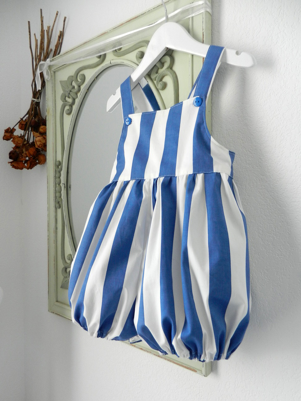 Duchesse or ange doa 301 barboteuse rayures bleues blue stripes baby rompers b