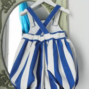 Duchesse or ange doa 301 barboteuse rayures bleues blue stripes baby rompers c