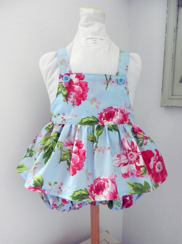 Duchesse or ange doa 302 barboteuse fille bleu ciel fleurs roses pink flowers sky blue girl baby rompers a