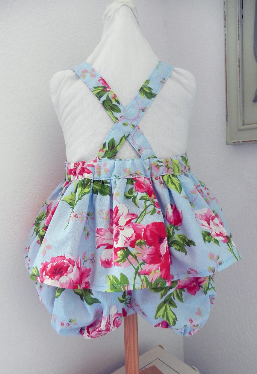 Duchesse or ange doa 302 barboteuse fille bleu ciel fleurs roses pink flowers sky blue girl baby rompers b
