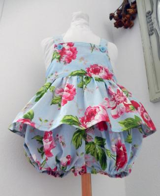 Sky blue girl rompers in pink floral print