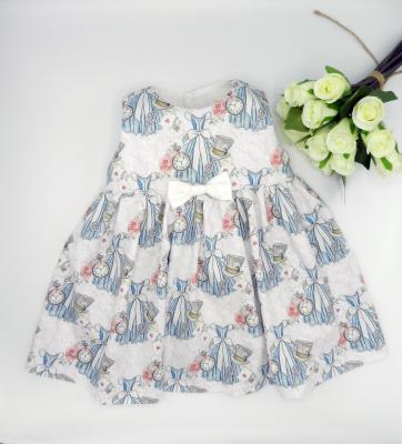 Robe sans manches tissu Alice rose et blanc