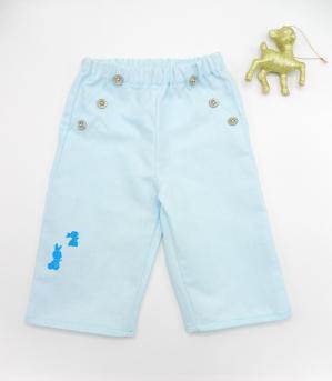 Duchesse or ange doa 309 pantalon coton lin bleu ciel lapins bleus a