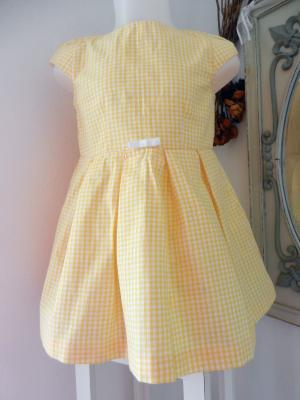 Robe à manches courtes en vichy jaune et blanc - 4 ans