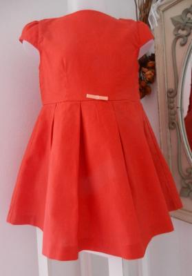 Robe à manches courtes en lin rouge orangé - 4 ans