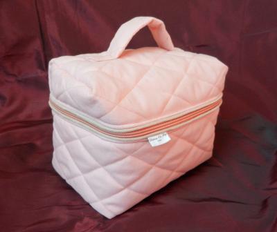 Powder pink quilted vanity case