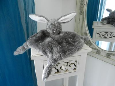 Grey rabbit baby comforter lined with white cotton fabric