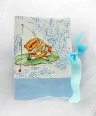 Health record book cover in Beatrix Potter fabric featuring a frog