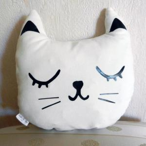 Duchesse or ange doaa 50 coussin veilleuse chat velours blanc casse b