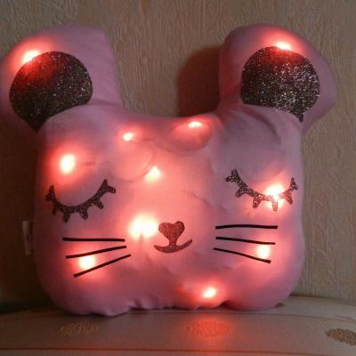 Coussin veilleuse souris rose