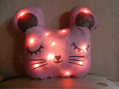 Pink mouse night light cushion