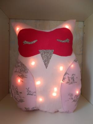 Fushia and baby pink owl night light cushion