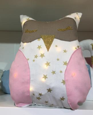 Stary white and baby pink owl night light cushion