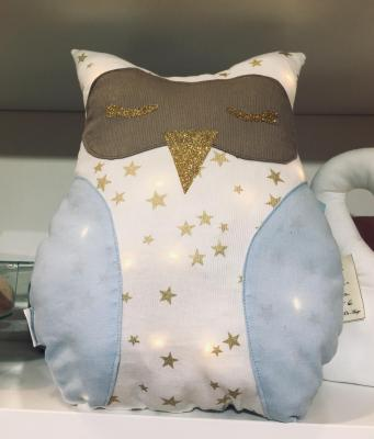 Stary white and sky blue owl night light cushion