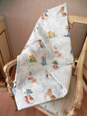 Baby blanket in Beatrix Potter animals print
