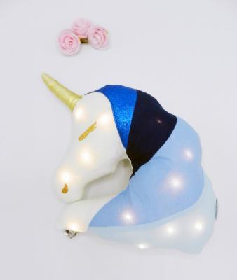 Coussin veilleuse licorne bleue