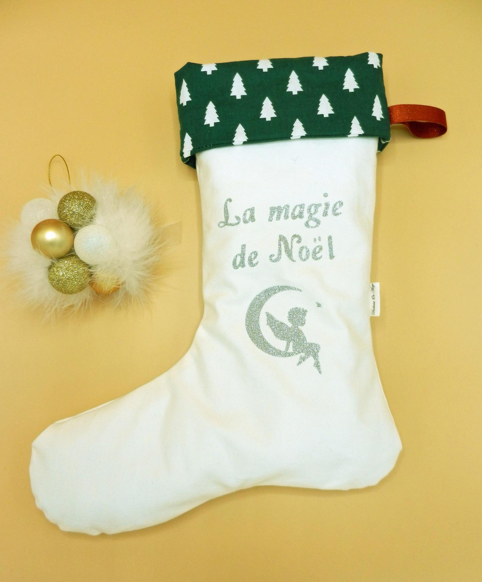 Duchesse or ange doaa 82 botte de noel blanche sapins verts prenom texte a