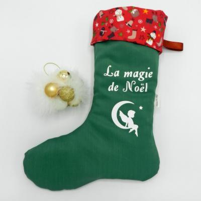 Botte de Noël verte et revers rouge avec bonhommes de neige