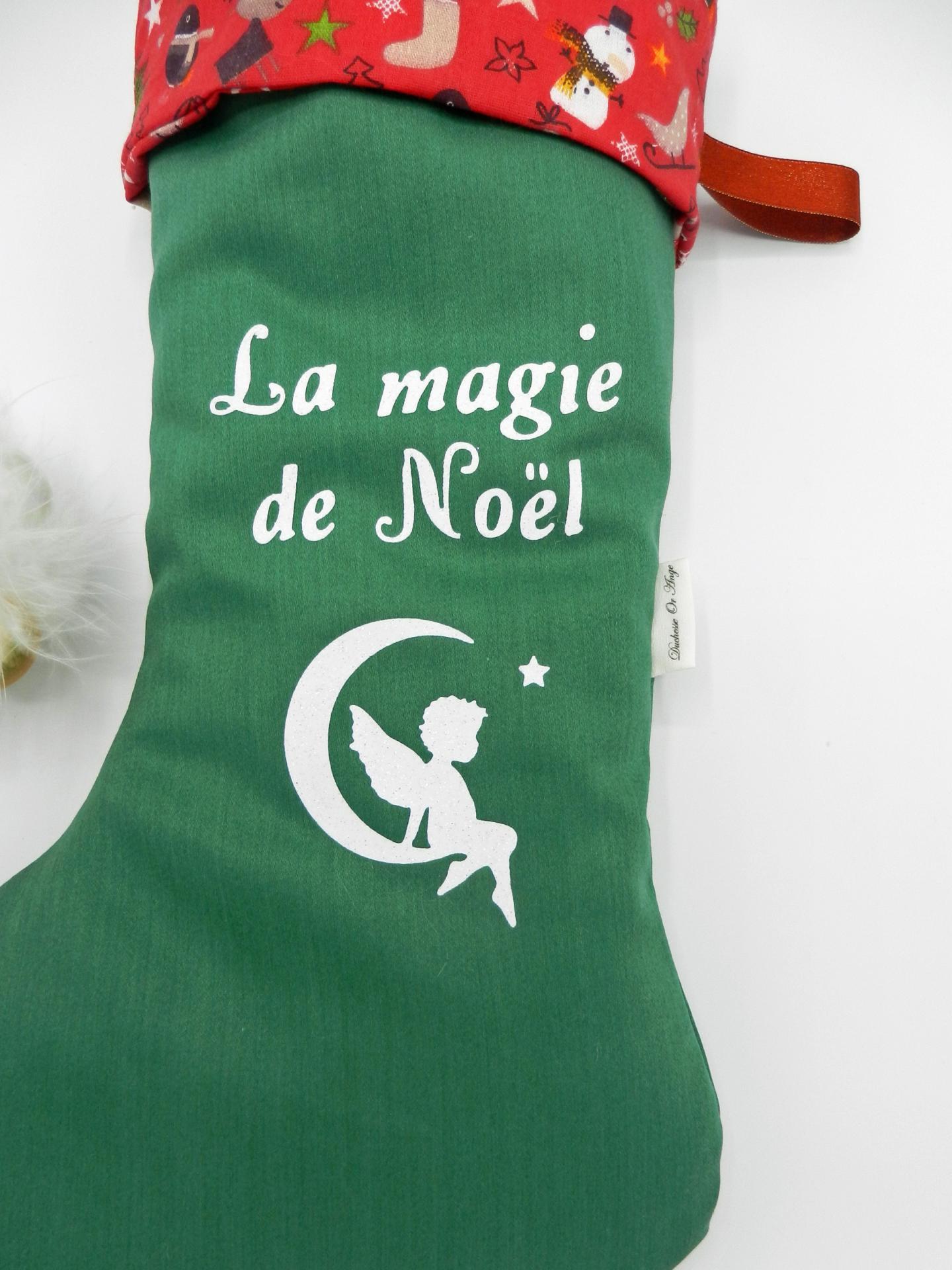 Duchesse or ange doaa 82 botte de noel verte bonhomme de neige rouge prenom b