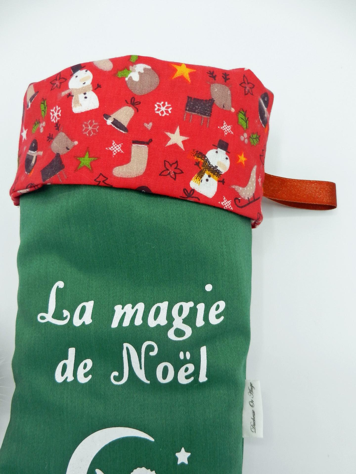 Duchesse or ange doaa 82 botte de noel verte bonhomme de neige rouge prenom c