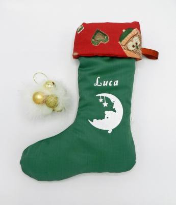 Botte de Noël verte et revers rouge avec hiboux