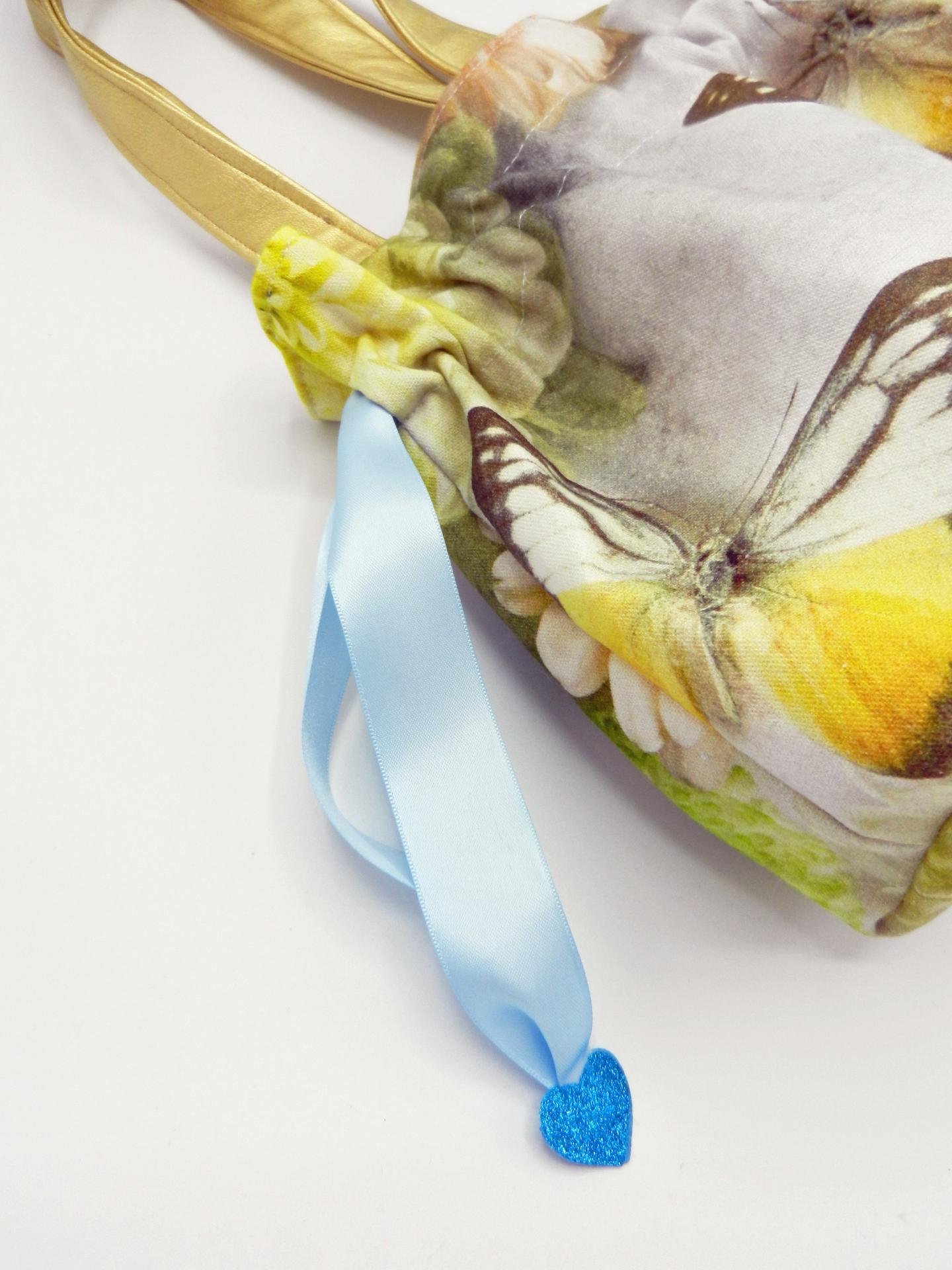 Duchesse or ange doaa 87 sac petite fille papillons fleurs anses or ruban bleu c