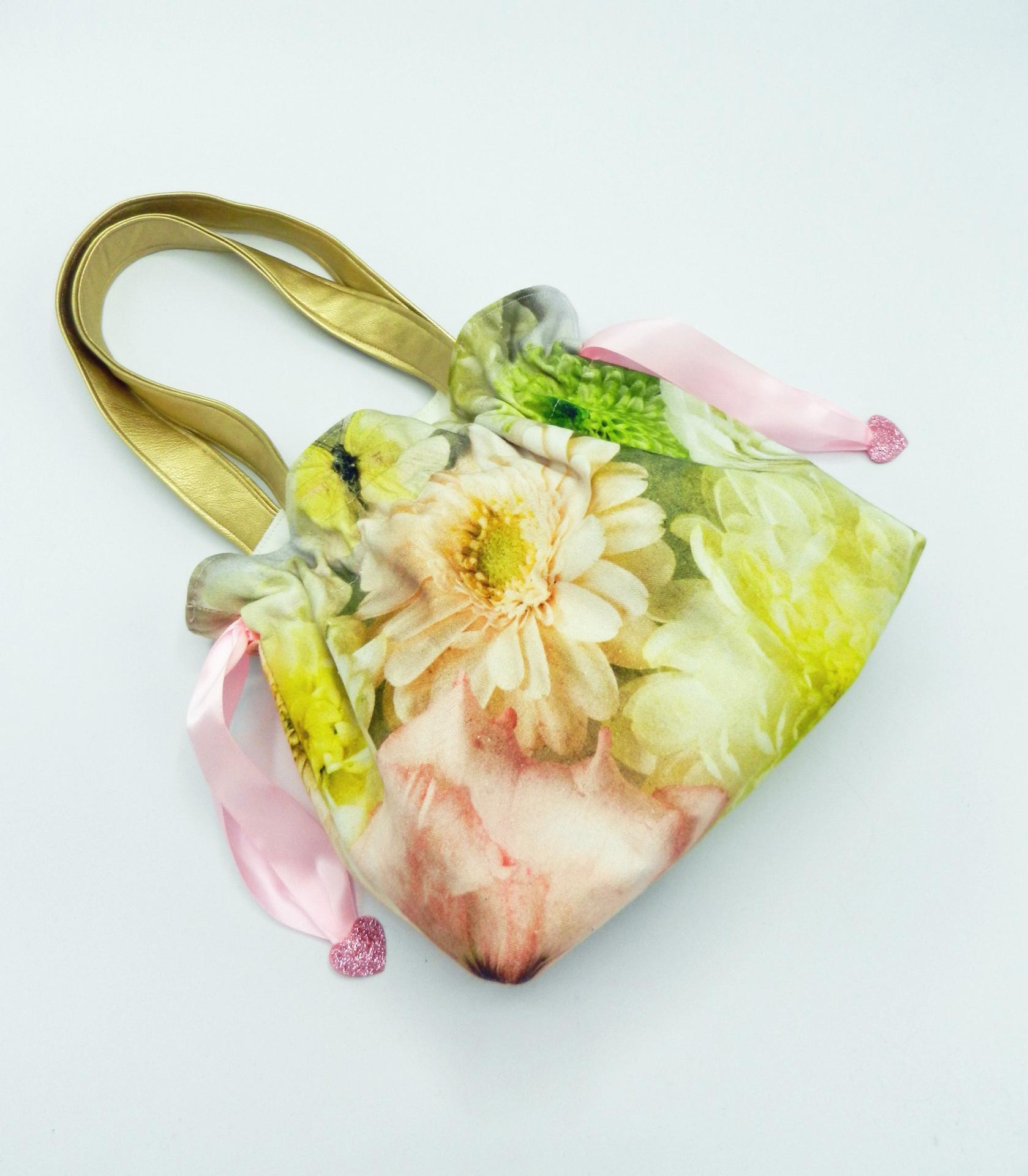 Duchesse or ange doaa 87 sac petite fille papillons fleurs anses or ruban rose b