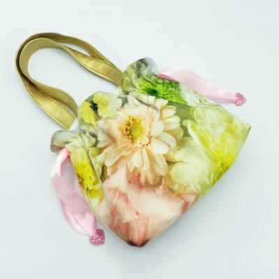 Sac pour petite fille froncé motif fleurs et papillons avec rubans roses