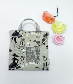 Duchesse or ange doaa 89 sac a barrettes tissu paris gris et noir anse simili cuir argent a