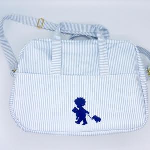 Duchesse or ange doaa 92 sac a langer rayures bleues et blanches motif bebe avec doudous a