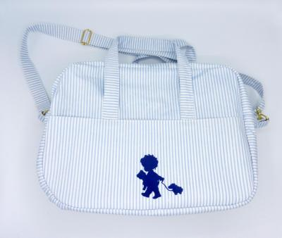 Sac à langer ou sac week-end à rayures bleues et blanches