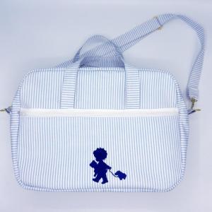 Duchesse or ange doaa 92 sac a langer rayures bleues et blanches motif bebe avec doudous b