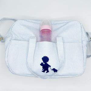 Duchesse or ange doaa 92 sac a langer rayures bleues et blanches motif bebe avec doudous e