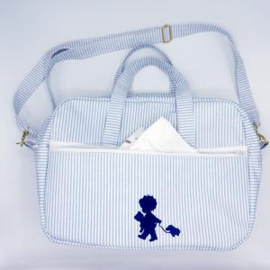 Duchesse or ange doaa 92 sac a langer rayures bleues et blanches motif bebe avec doudous f