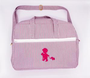 Duchesse or ange doaa 92 sac a langer rayures bordeaux et blanches motif rose bebe avec doudous a
