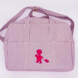 Duchesse or ange doaa 92 sac a langer rayures bordeaux et blanches motif rose bebe avec doudous c