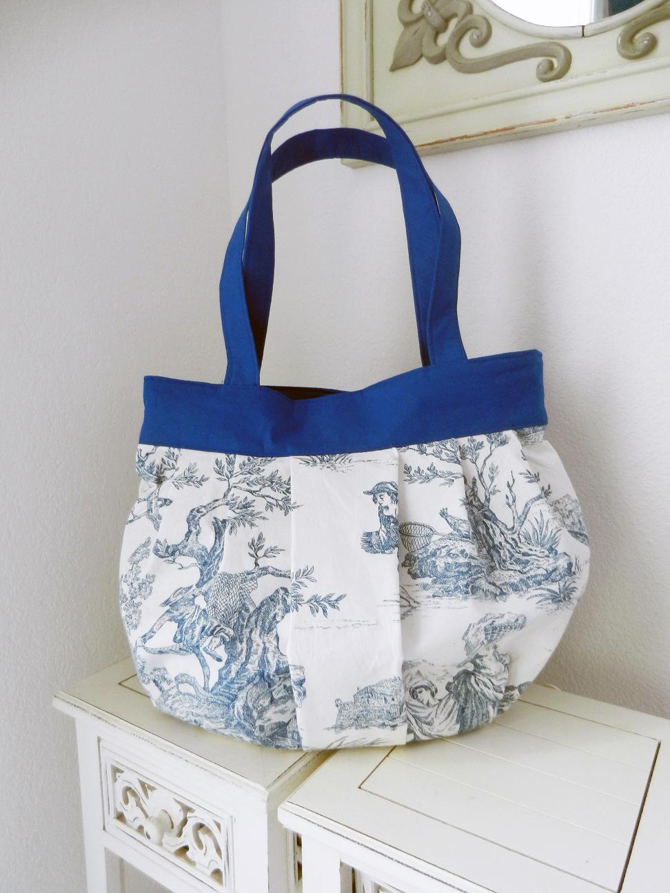 Duchesse or ange doas 1 sac marina toile de jouy bleu a