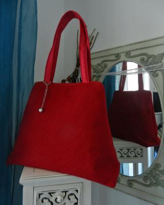 """Charline"" bag in fluffy red fabric"